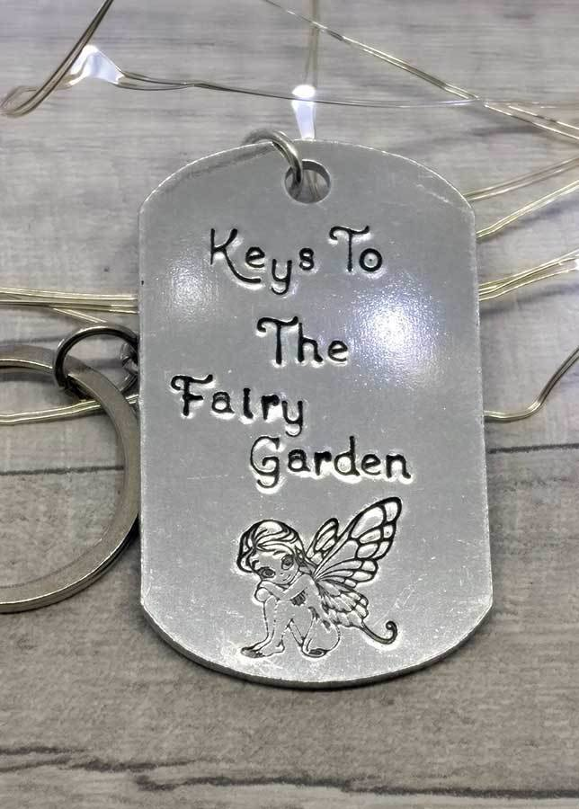 Fairy Garden Handstamped Keyring