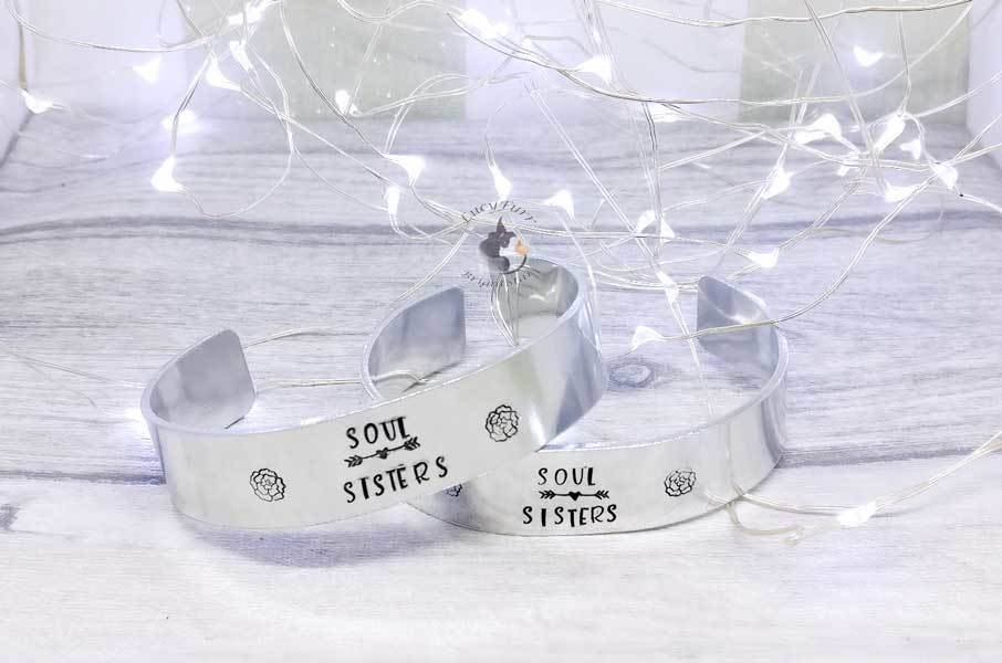 Soul Sisters set of 2 Metal Stamped Cuff Bracelets