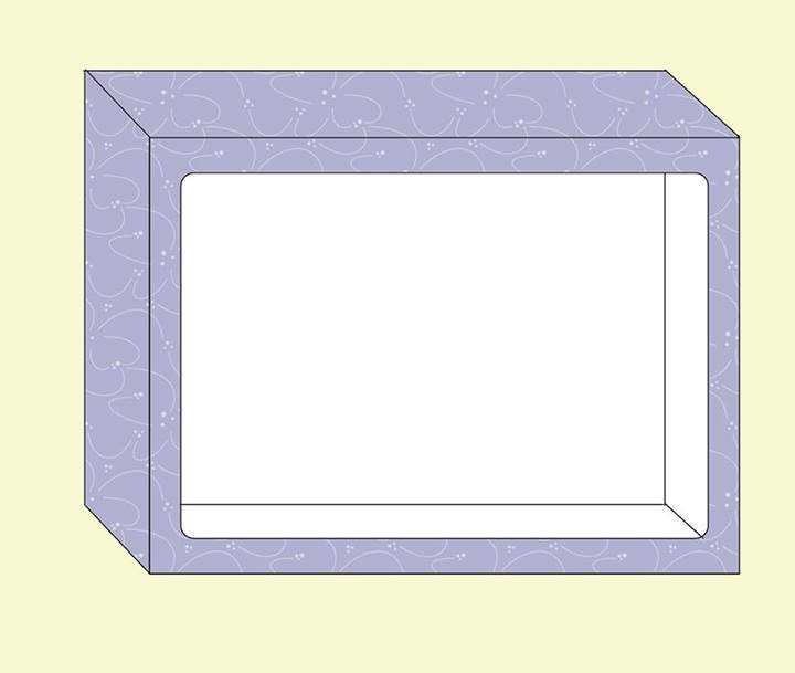Box with front window. Sized at 8.8 x 6.5 x 1.5 inches