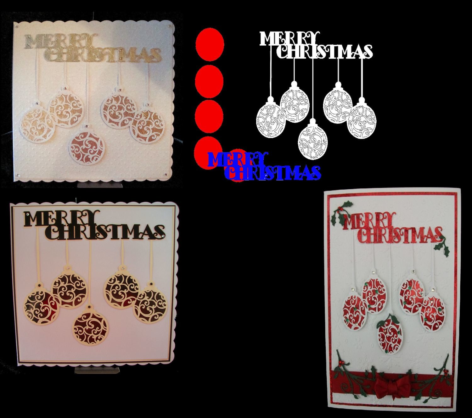 Hanging Baubles Christmas Cutz No4  Card Topper