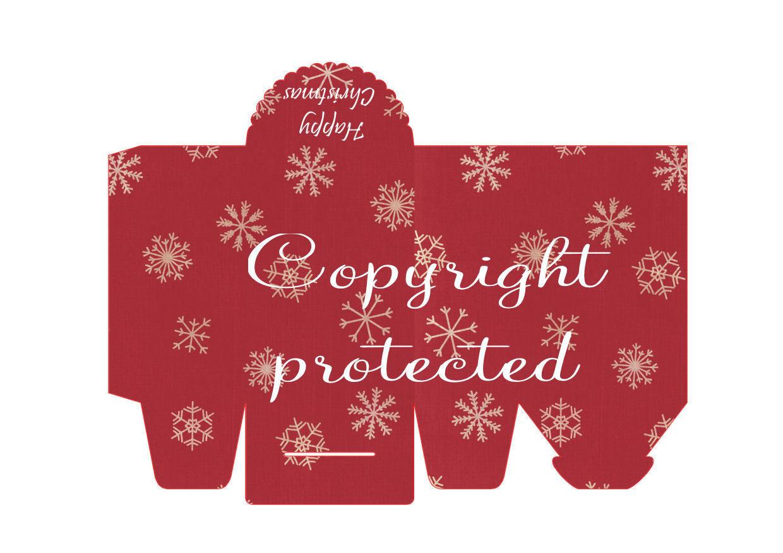 Snowflakes on Red- Christmas Bag / Box  Print N cut for Cameo
