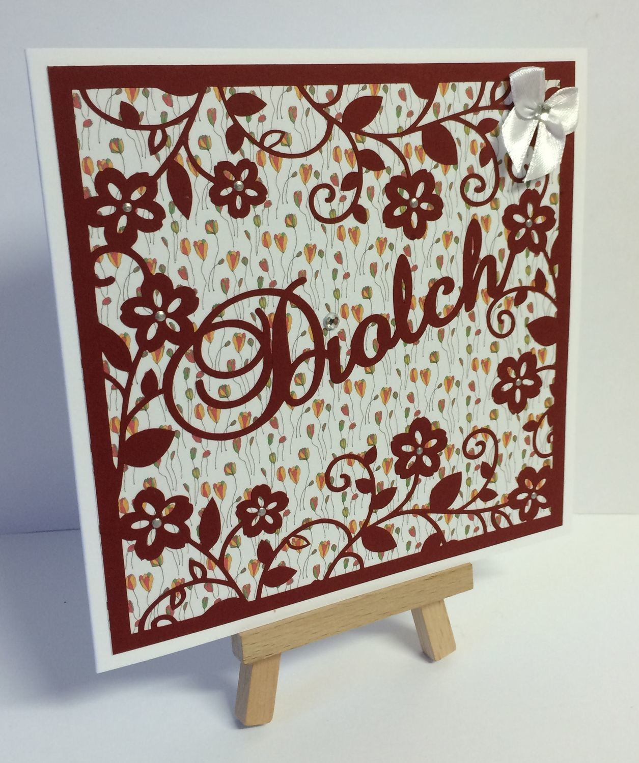 Diolch (thank you) - Welsh / Wales card topper 3 layers.