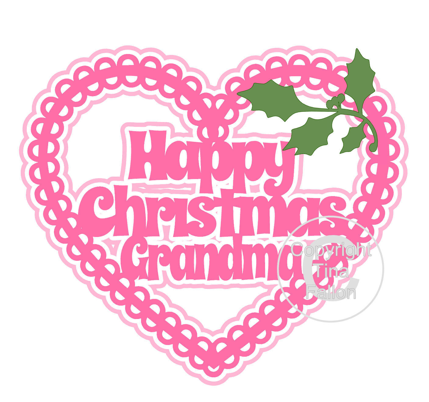 Christmas Heart Grandma Card Topper / Hanging Ornament