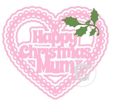 Christmas Heart Mum Card Topper / Hanging Ornament