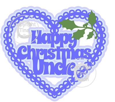 Christmas Heart Uncle Card Topper / Hanging Ornament