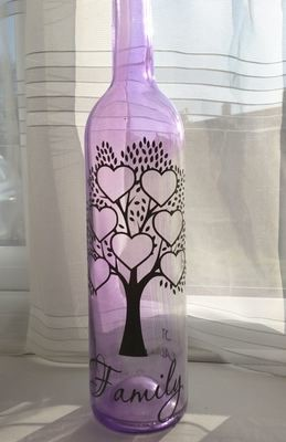 Family Tree for 7 - Wine Bottle, light block decal. Easy Weed-Read description