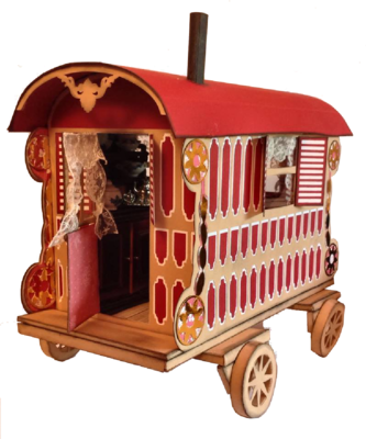 3d Romany Gypsy Caravan  inc interior and box  SVG and FCM formats