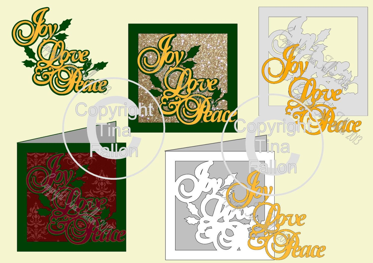 Joy,Peace and Love. Layered Sentiment, Topper and a Card Template
