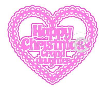 Christmas Heart Granddaughter Card Topper / Hanging Ornament