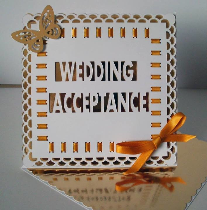 Wedding Acceptance Easel Card with box