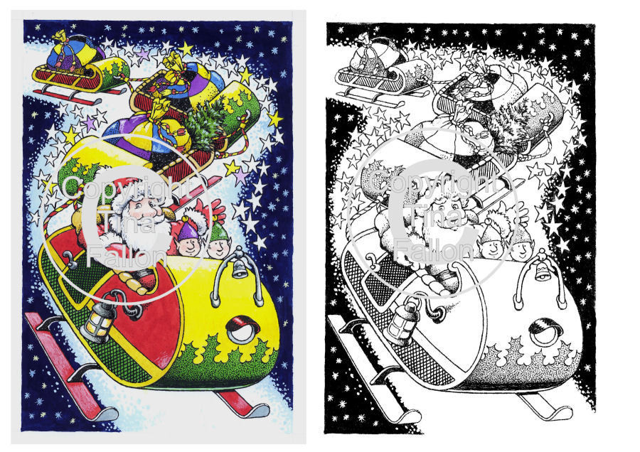 Christmas Sleigh Ride Digi Image  non cutting file