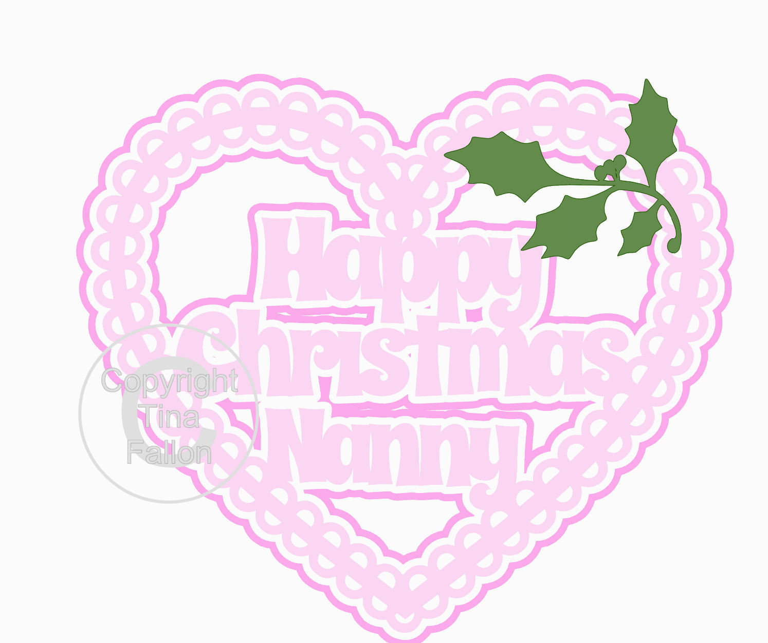 Christmas Heart Nanny Card Topper / Hanging Ornament