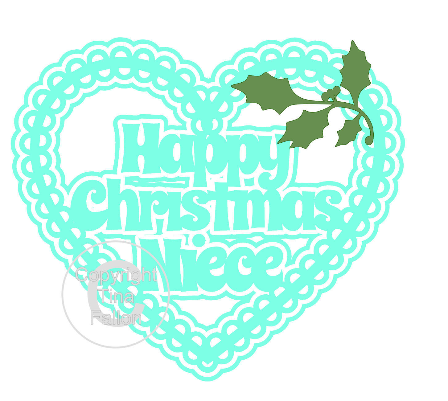 Christmas Heart Niece Card Topper / Hanging Ornament
