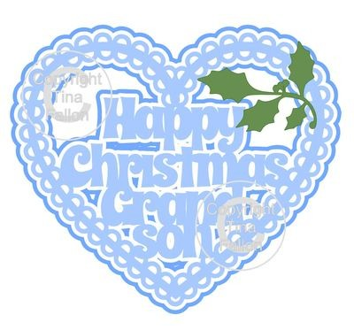 Christmas Heart Grandson Card Topper / Hanging Ornament