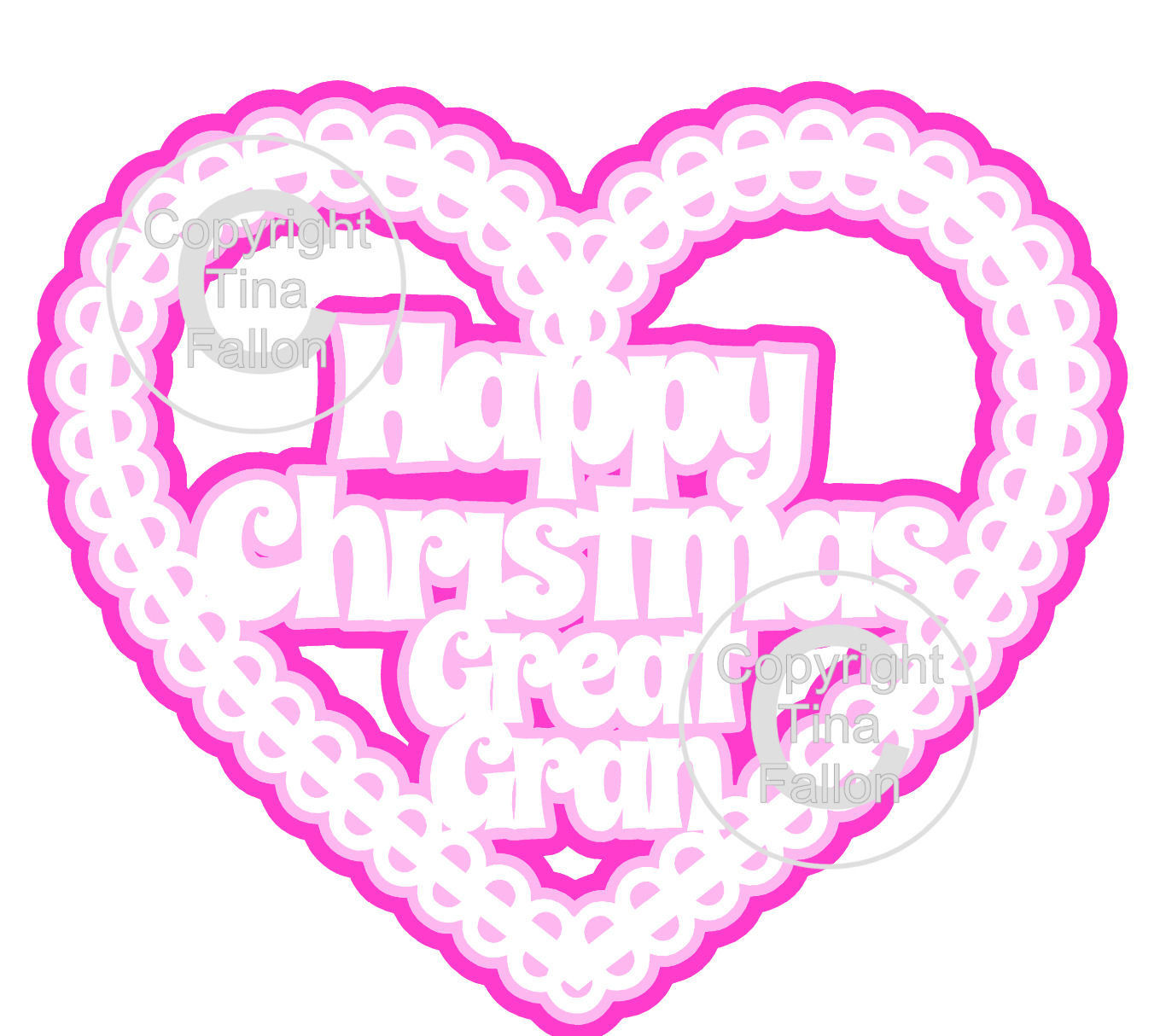 Christmas Heart Great Gran Card Topper / Hanging Ornament