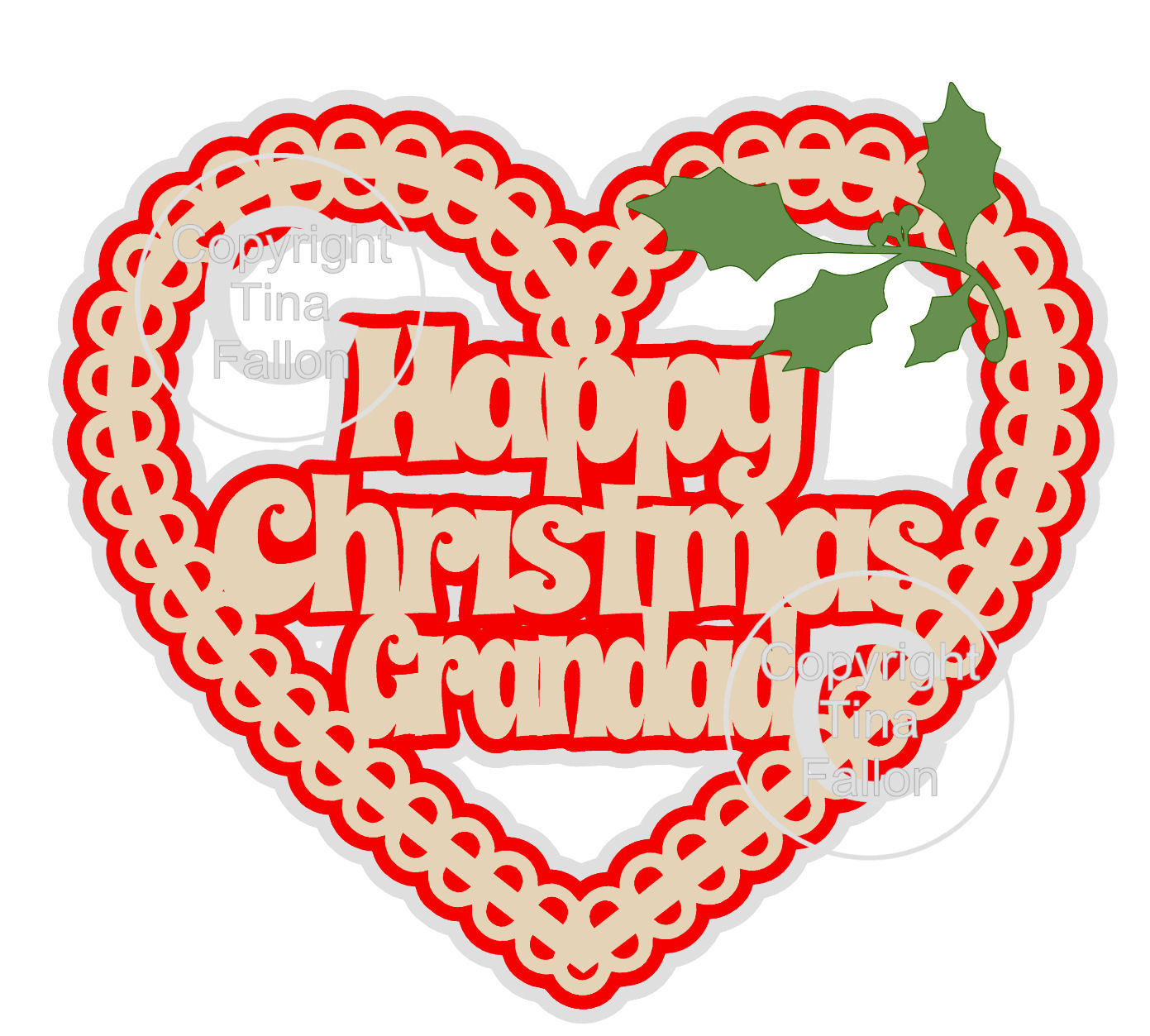 Christmas Heart Grandad Card Topper / Hanging Ornament