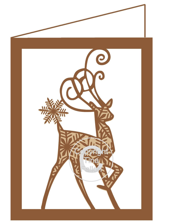 Snowflake Reindeer Christmas Card Template