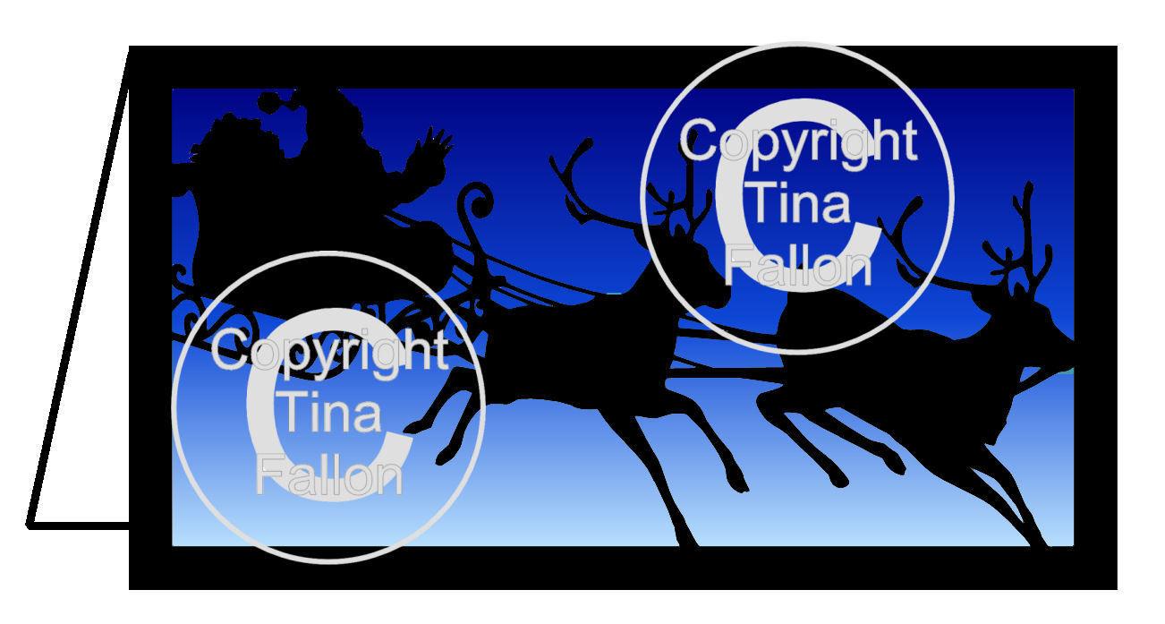 Santa on Sleigh Christmas Card - PLEASE READ INFO