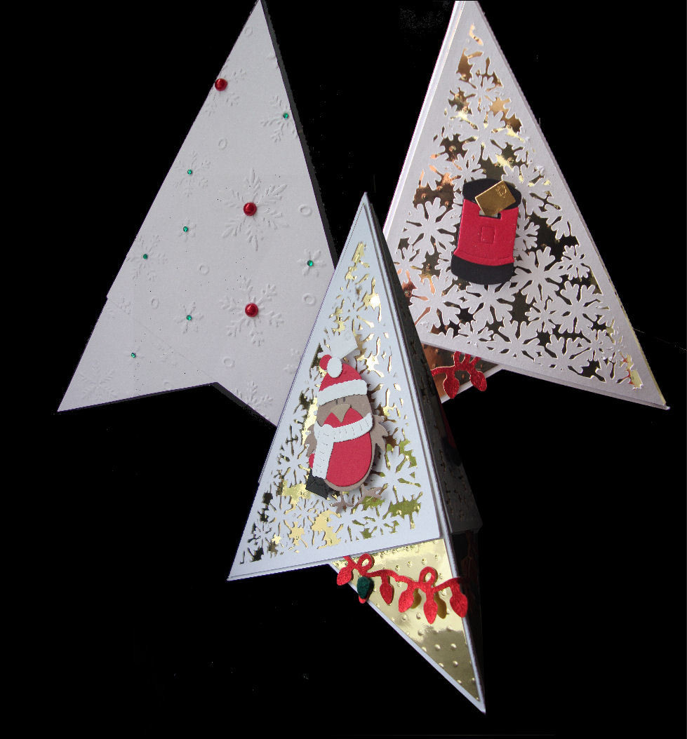 Pyramid Card with 4 Snowflake cut out panels