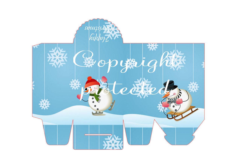 Snow fun - Christmas Bag / Box  Print N cut for Cameo