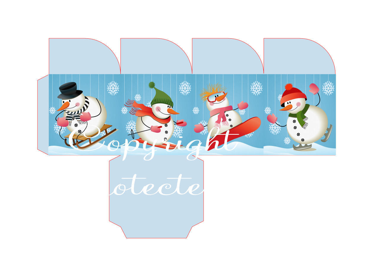 Fun on Snow Friends Christmas Treat Box  Print N cut for Cameo