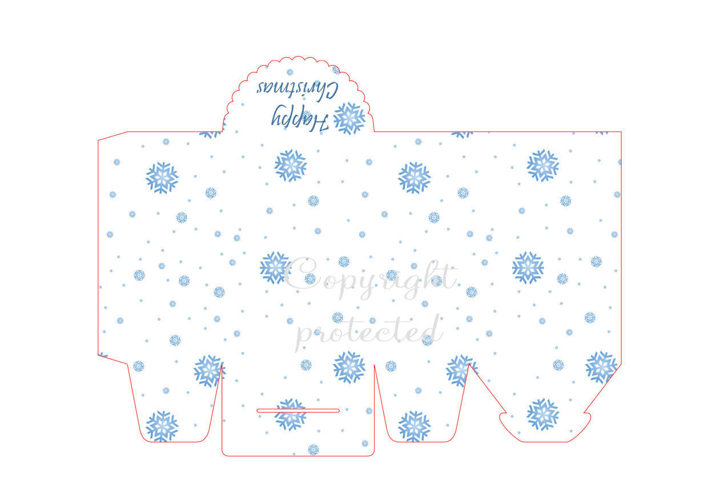 Blue Snowflakes - Christmas Bag / Box  Print N cut for Cameo