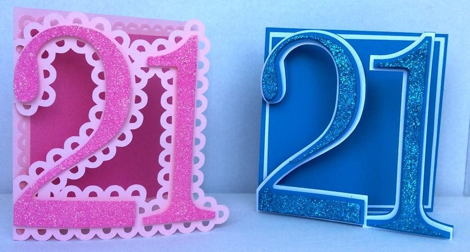 21st Shaped Card Templates x 2 cards  (with layering)