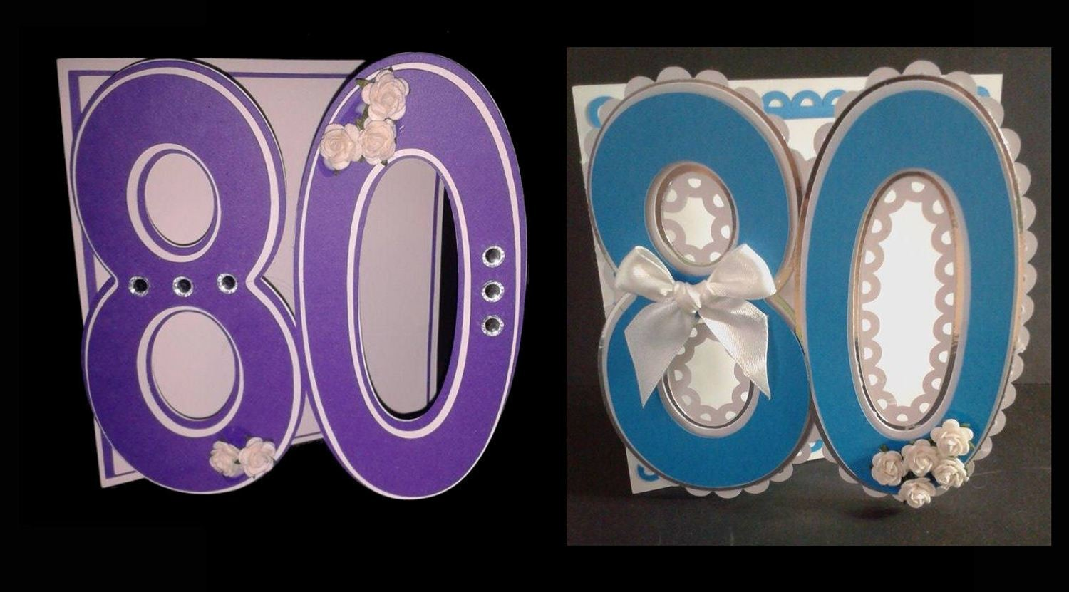 80th  Shaped Card Templates x 2 cards  (with layering)