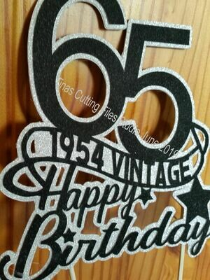 65th 1954 Vintage  Birthday Cake / Card topper  layered