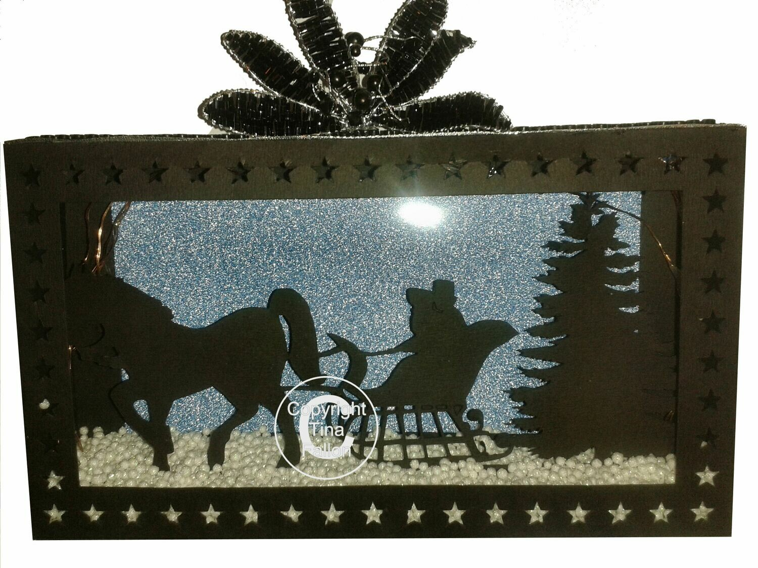 Sleigh Ride in the Snow Christmas Eve Scene In A Box .