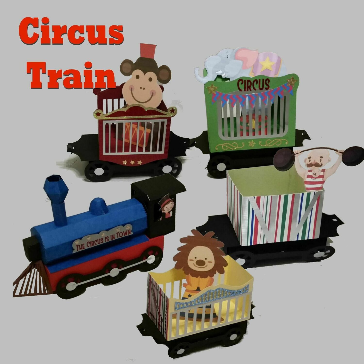 Circus Steam Train and 4 Cars 3d model cutting file with extras see description