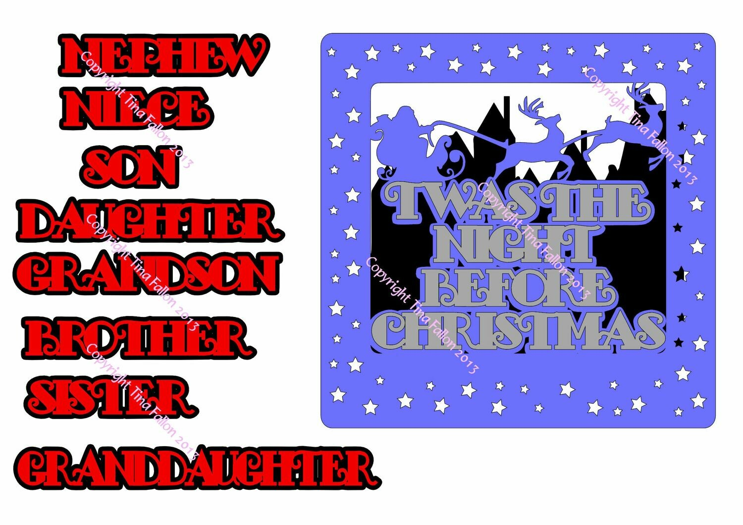 TWAS THE NIGHT BEFORE CHRISTMAS LARGE CARD FRONT & Relations names