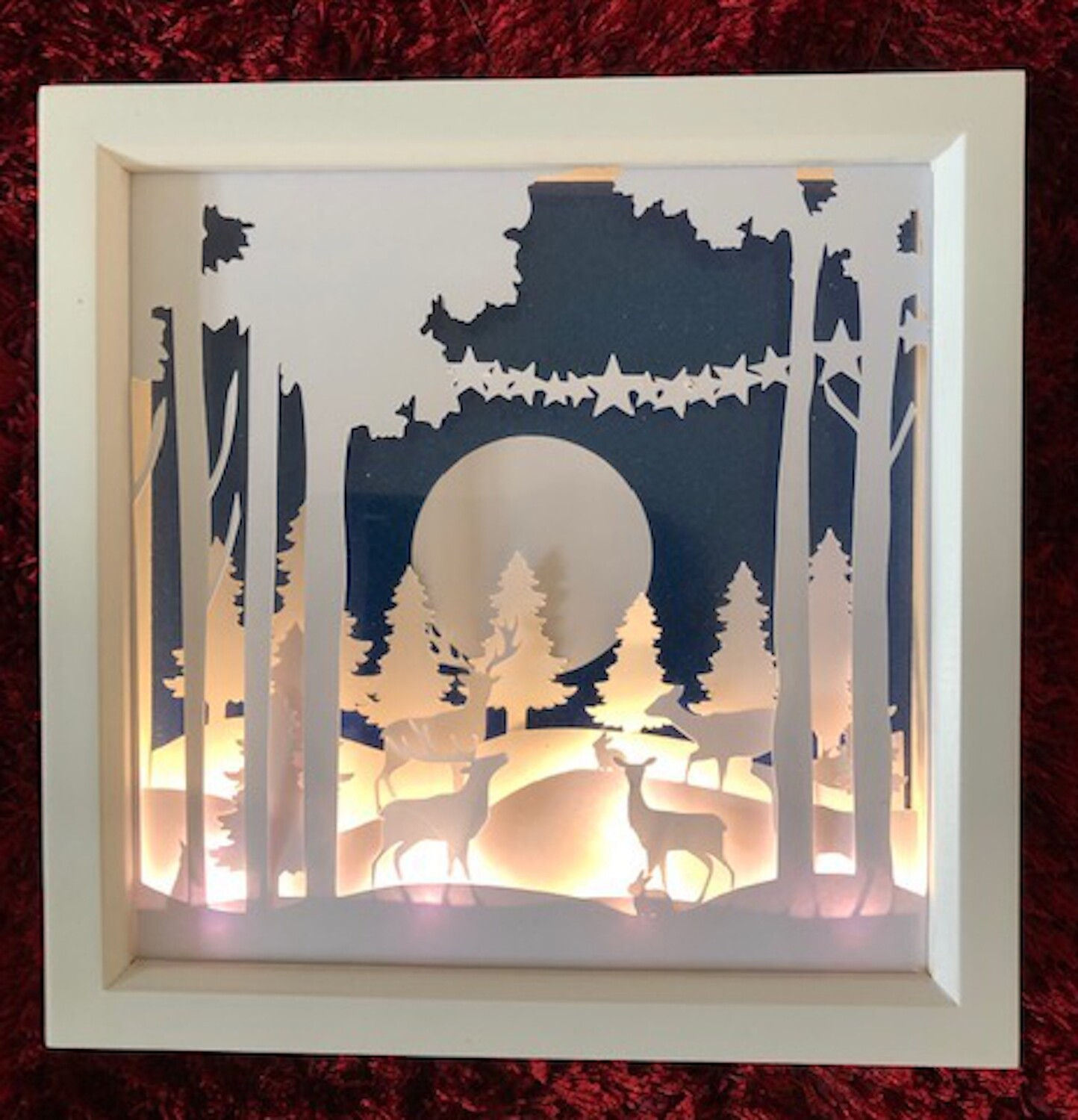 Deer in Forest - Woods Christmas Scene - Multi layered & suitable for Shadow Box frame