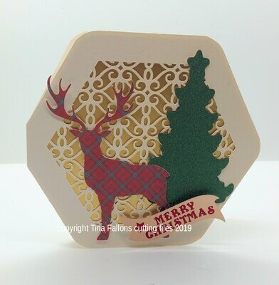 Deer Christmas Card  Octagon Card
