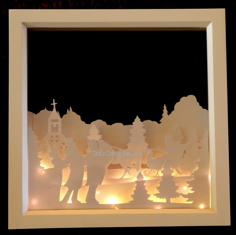 Dashing Home for Christmas Scene - Multi layered & suitable for Shadow Box frame