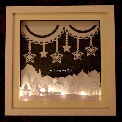 Winter Christmas Scene - Multi layered & suitable for Shadow Box frame