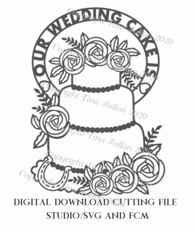 Wedding Cake Menu Rose themed - Design no 2 download SVG/Studio and FCM digital cutting file