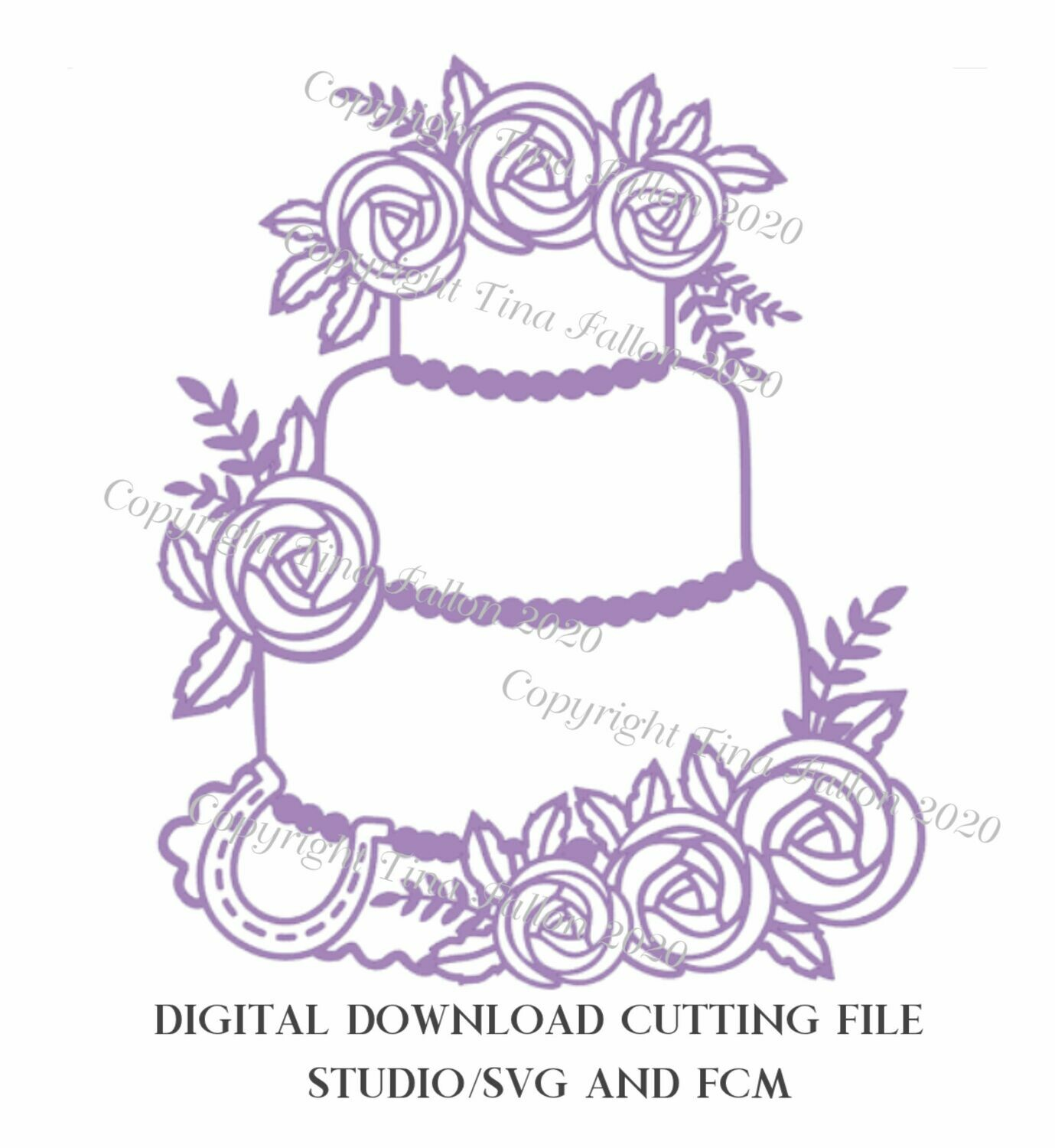 Wedding Cake Menu Rose themed - Design no 1 download SVG/Studio and FCM digital cutting file