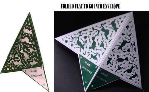 Pyramid Card with Holly cut out panels.