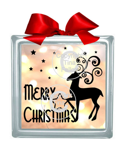 Merry Christmas Reindeer  Glass Block Tile Design 6x6 inches