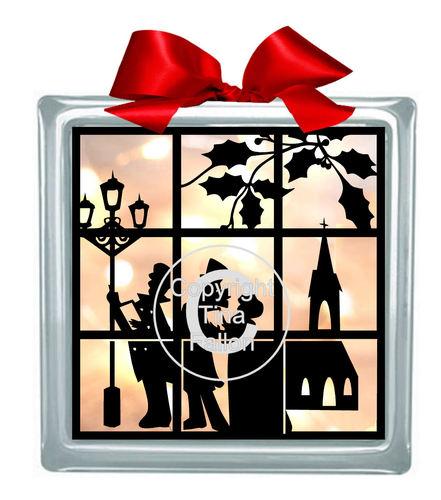 Carol Singers Window Scene Glass Block Tile Design 6x6 inches