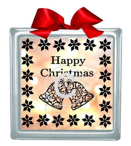 Christmas Bells Glass Block Tile Design 6x6 inches