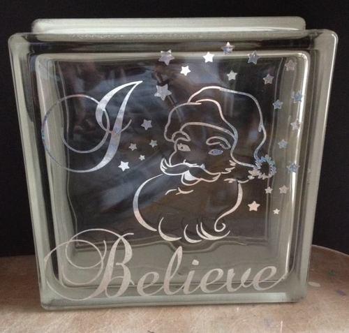Santa  I / We Believe' Glass Block Tile Design 6x6 inches