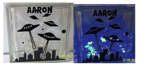 Alien Invasion  Glass Block Tile Design 6x6 inches