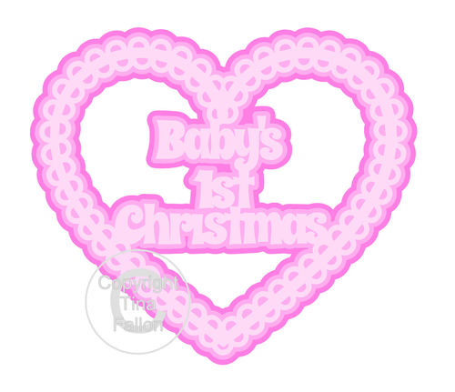 Christmas Heart Babies 1st Card Topper / Hanging Ornament