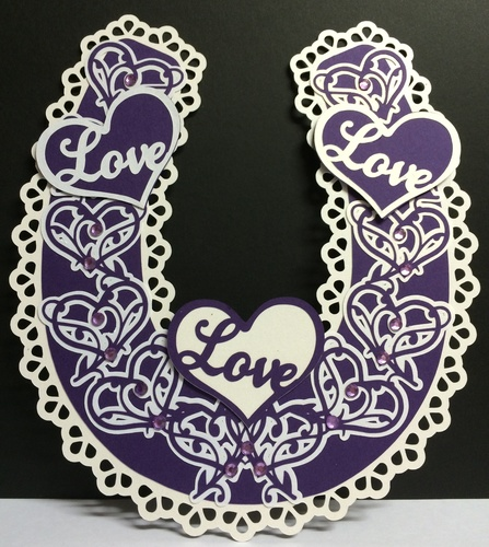 Bridal / Bride Wedding horseshoe  - Ornate Hearts complete with gift box