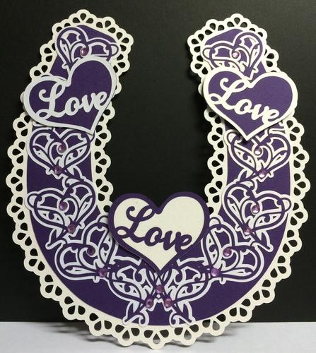 Bridal / Bride Wedding horseshoe  - Ornate Hearts  SCANNCUT