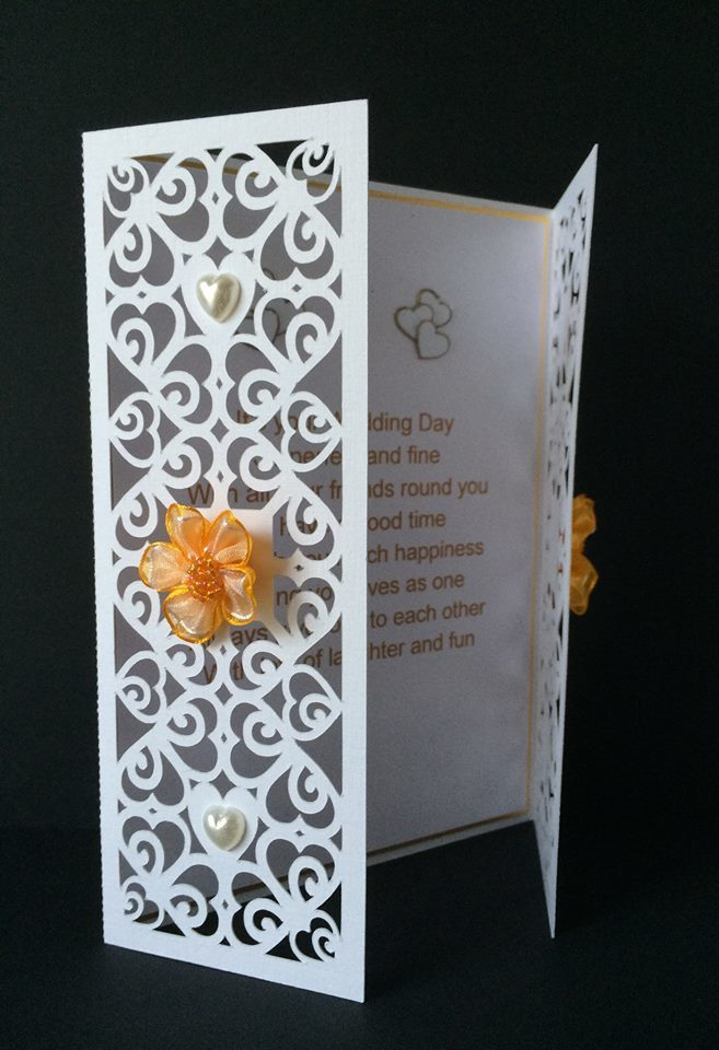 Hearts & Romance Gatefold Card  fits 7x 5  env.