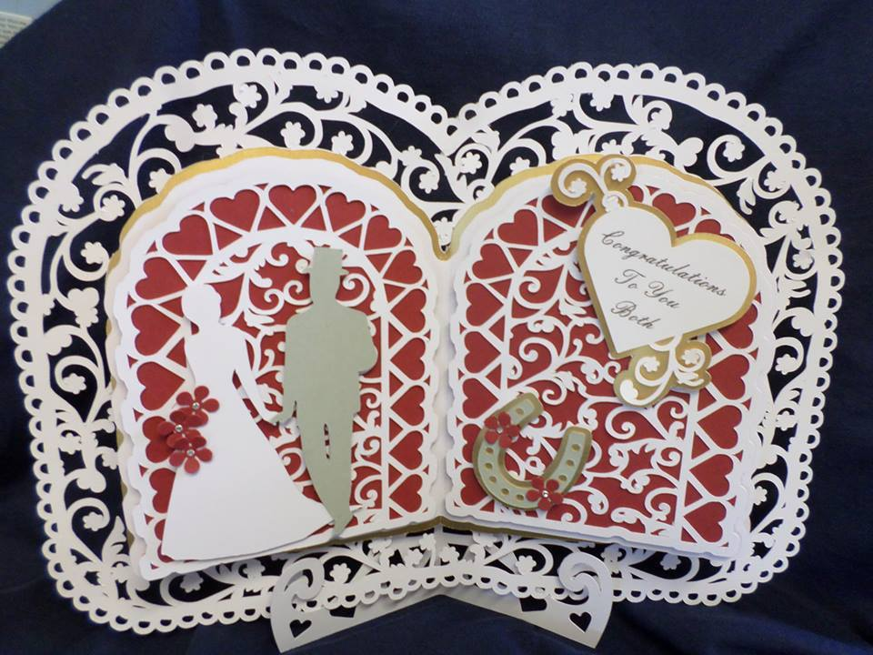 Open Book Card style with Box and stand Weddings