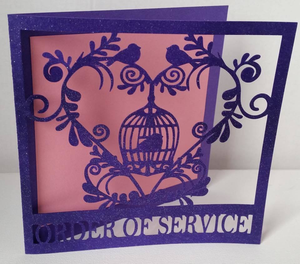 Wedding Set Heart and Bird Cage- ORDER OF SERVICE   studio file